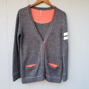 Free People Varsity Snap Front Cardigan Grey Med